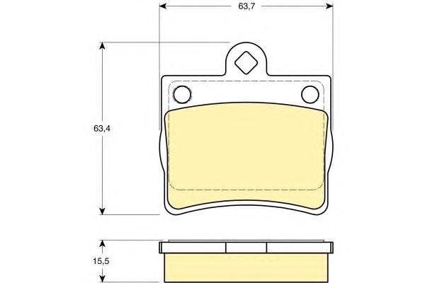 6112832 Колодки тормозные MERCEDES W202 1.8-2.5 93-00 задние (1 штифт)