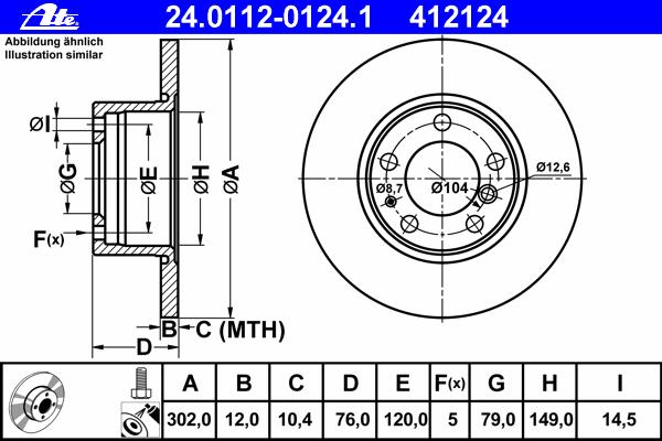 24011201241 Диск тормозной передн, BMW: 5 518 i/520 i/520 i 24V/524 td/525 td/525 tds 87-95, 5 Touring 518 g/518 i 91-97