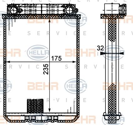 8fh351311181 Радиатор отопителя MB W203 00