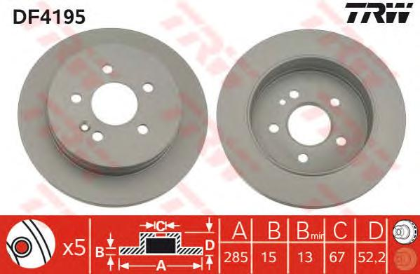 DF4195 Диск тормозной MERCEDES W163 230-430 98-08.00 задний D=285мм.