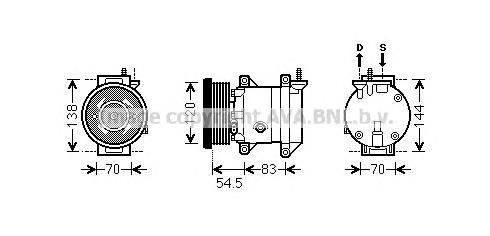 DWK091 Компрессор кондиционера CHEVROLET NUBIRA 1.4/1.6 05-