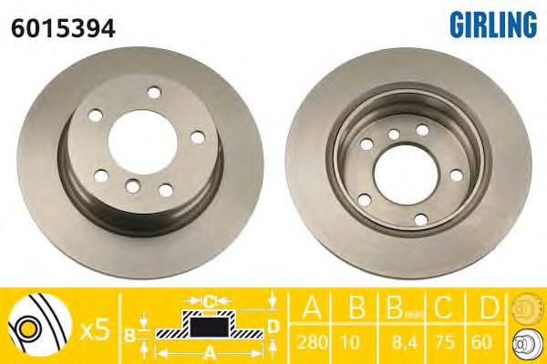 6015394 Диск тормозной BMW 3 E36 316-323 90-98/E46 316-318 98-05 задний D=280мм.