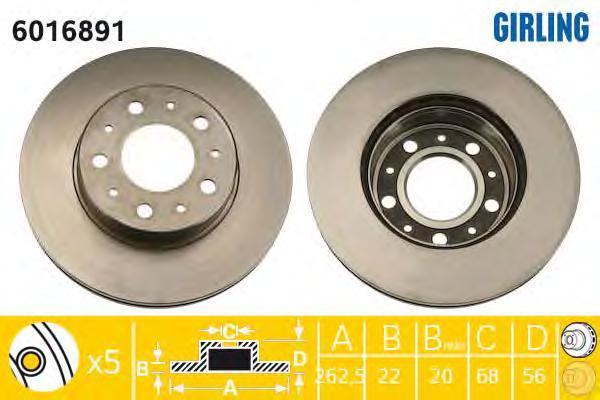 6016891 Диск тормозной VOLVO 740/760 передний вент.D=260мм.