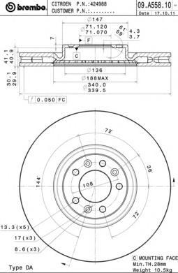 09A55811 Диск тормозной CITROEN C5 09-/PEUGEOT 508 10- передний D=340мм.