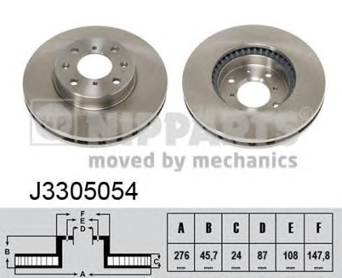 J3305054 Диск тормозной MITSUBISHI PAJERO 90-/L 200 92- передний вент.D=276мм.