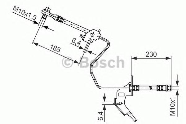 1987476200 Шланг тормозной OPEL ASTRA G/H/MERIVA/ZAFIRA 1.2-2.2 98- 230мм задний