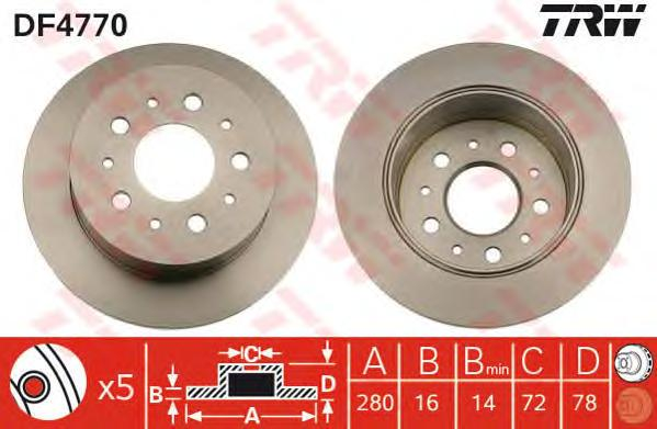 DF4770 Диск тормозной CITROEN JUMPER/FIAT DUCATO/PEUGEOT BOXER 1.1-1.5t 06- задний
