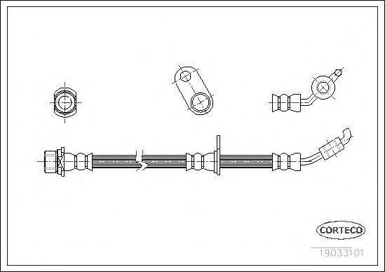 19033101 Шланг тормозной TOYOTA: RAV 4 II 1.8 VVTi/2.0 D-4D 4WD/2.0 VVTi 4WD 00-05