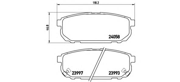 P30023 Колодки тормозные KIA SORENTO (JC) 2.4-3.5 02- задние