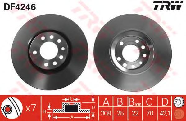 DF4246 Диск тормозной OPEL ASTRA H/MERIVA B/ZAFIRA 00-/SAAB 9-3 02- передний вент.