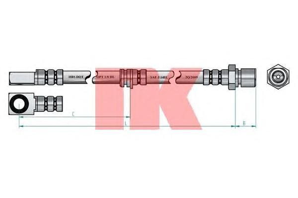 853654 Шланг тормозной передний / OPEL Omega-A/B