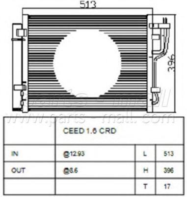 PXNCA106 Радиатор AC HY i30(FD), Kia Ceed 07-