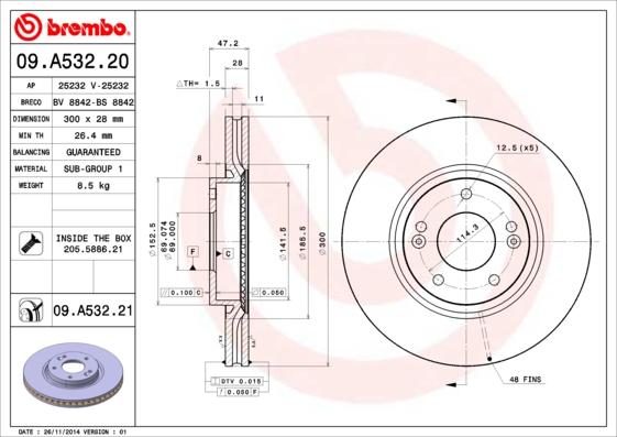 "09A53220 Диск тормозной HYUNDAI i30 07- R16"" передний вент.D=300мм."
