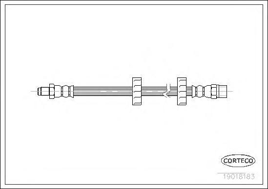 19018183 Шланг тормозной AUDI: 100 2.0 82-91  VW: GOLF I 1.1/1.3/1.5/1.6/1.6 D/1.6 GTI/1.6 TD/1.8 GTI 74-85, GOLF I Cabriolet 1.