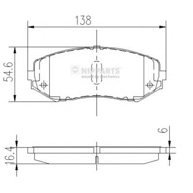 J3608029 Колодки тормозные SUZUKI GRAND VITARA 1.9D/1.6/2.0/2.4/2.7/3.2 05 передние