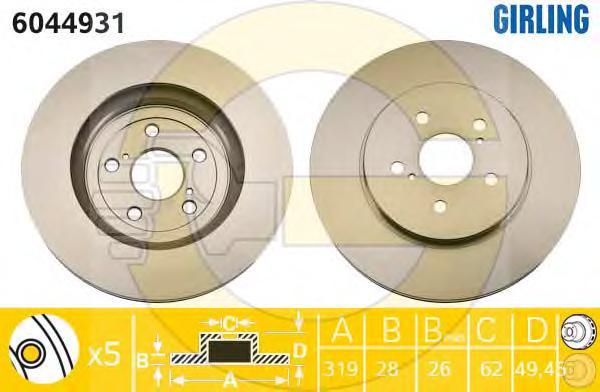 6044931 Диск тормозной LEXUS RX300/RX350/RX400 03 передний