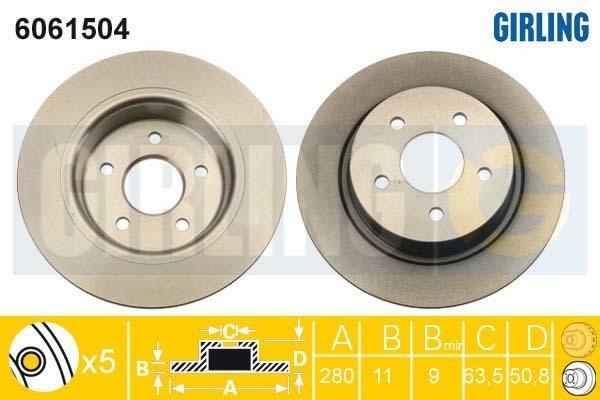 6061504 Диск тормозной FORD C-MAX/GRAND C-MAX 10- задний