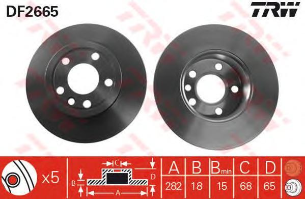 DF2665 Диск тормозной VW TRANSPORTER IV 96- R15 передний вент. D=282мм