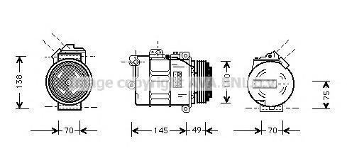 BWAK237 Компрессор кондиционера BMW: 3 (E36) 328 I 90-98, 3 (E46) 320 I/323 I/325 I/325 XI/328 I/330 I/330 XI 98-05, 3 COMPACT (