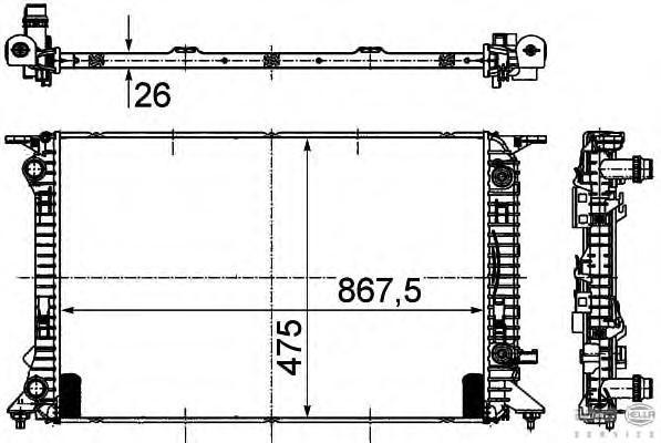 8MK376745631 Радиатор системы охлаждения AUDI: A4 (8K2) 1.8 TFSI/2.0 TDI/2.0 TDI quattro/2.0 TDi/2.0 TDi quattro/2.0 TFSI/2.0 TF