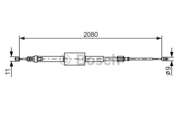 1987477787 Трос ручного тормоза RENAULT MEGANE II/SCENIC II 2080мм