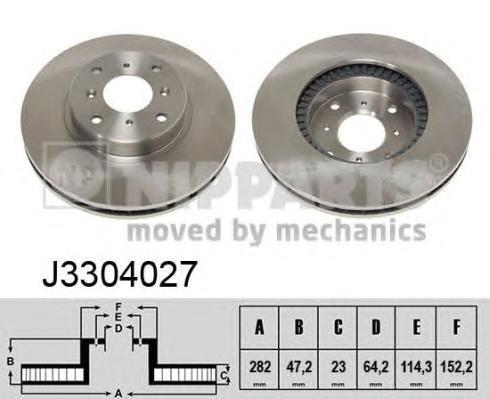 J3304027 Диск тормозной HONDA CIVIC 1.8 97-01/PRELUDE 2.2/2.3 92-96 передний вент.D=282мм