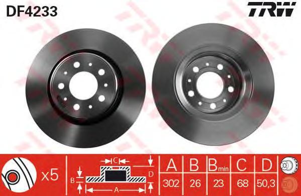 DF4233 Диск тормозной передн VOLVO: C70 кабрио 98-05, C70 купе 97-02, S70 96-00, V70 I универсал 97-00