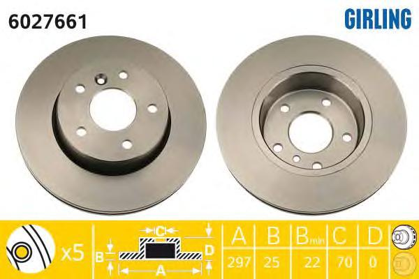 6027661 Диск тормозной LAND ROVER RANGE ROVER 2.5-4.6 94-02 передний вент.D=297мм.