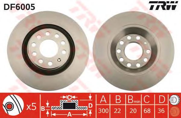 DF6005 Диск тормозной AUDI A4 2.0-4.2 03- задний вент.D=300мм.