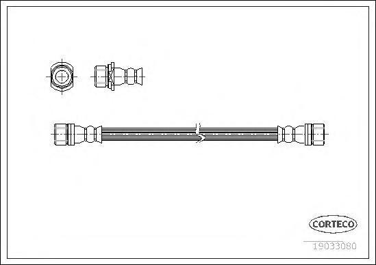 19033080 Шланг тормозной Fr 290мм TO LC90 -08.00