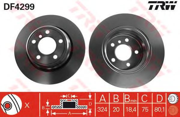 DF4299 Диск тормозной BMW X5 E53 00- задний вент.D=324мм.