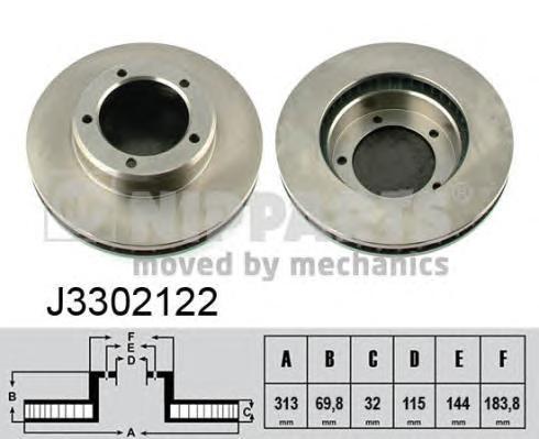 J3302122 Диск тормозной TOYOTA LAND CRUISER J100 4.2D/4.7 98-07 передний вент.