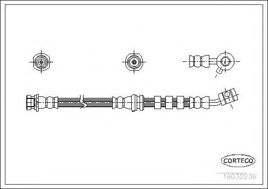 19032236 Шланг торм. Fr R Nissan Primera 90-96 403мм