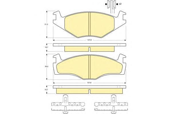 6104545 Колодки тормозные VOLKSWAGEN G2 1.6/G3 1.4/1.6/1.9D передние