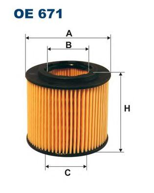 OE671 Фильтр масляный SKODA FABIA 1.2 01-/VW POLO 1.2 01-