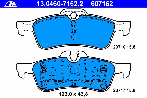13046071622 Колодки тормозные дисковые задн, MINI: MINI 1.4/Cooper/Cooper S/One/One D/Works 01-06, MINI кабрио Cooper/Cooper S/J