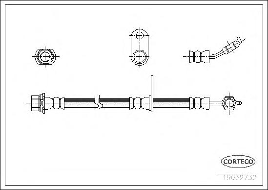 19032732 Шланг торм. Fr R Toyota RAV 4 <94-00 466мм