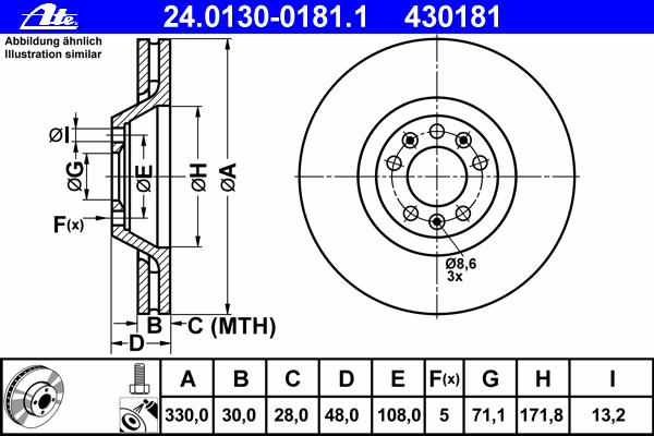24013001811 Диск тормозной передн, CITROEN: C6 2.2 HDi/2.7 HDi/3.0 V6 05-  PEUGEOT: 407 2.2/2.2 16V/2.2 HDi/2.2 HDi 170/2.7 HDi/