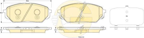6135279 Колодки тормозные HYUNDAI ix55 3.0 V6 CRDI 08- передние