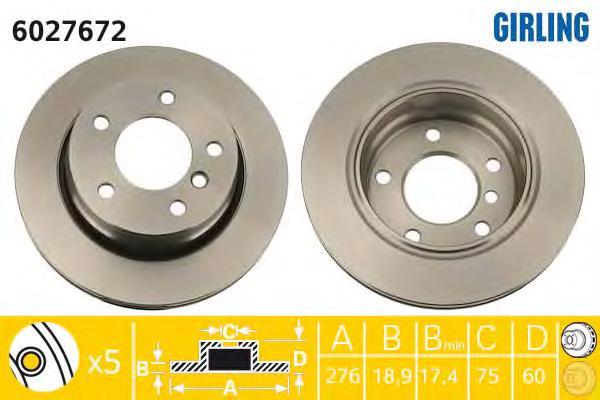 6027672 Диск тормозной BMW 3 E46 316-323 98-05 задний D=276мм.