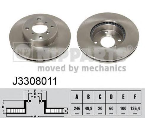 J3308011 Диск тормозной SUZUKI BALENO 1.8/1.9 96-02/LIANA 1.3-1.6 01- передний