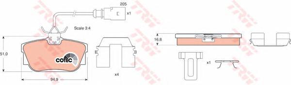 GDB1369 Колодки тормозные VOLKSWAGEN T4 96/SHARAN 00/GALAXY R16 0006 (1 датчик) зад.