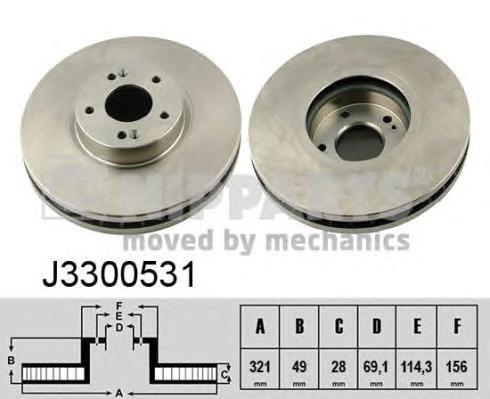 J3300531 Диск тормозной HYUNDAI SANTA FE (SM) 05-06/(CM) 06- передний вент.D=321мм.
