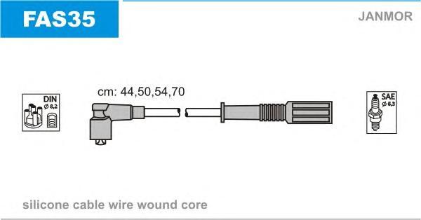 FAS35 Комплект проводов зажигания FIAT: ALBEA 96-, PALIO 96-, SIENA 96-