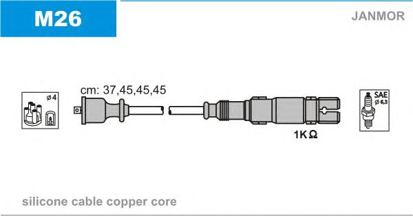 M26 Комплект проводов зажигания MERCEDES BENZ: A/B-CLASS 1.5/1.7/2.0 04-