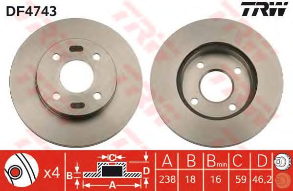DF4743 Диск тормозной NISSAN MICRA 98-03 передний вент.D=238мм.