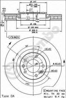 09768010 Диск тормозной Fr PE 607 00-