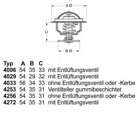 425387D Термостат VAG 80/GOLF/PASSAT/T3 / FELICIA 1.9D 93-99