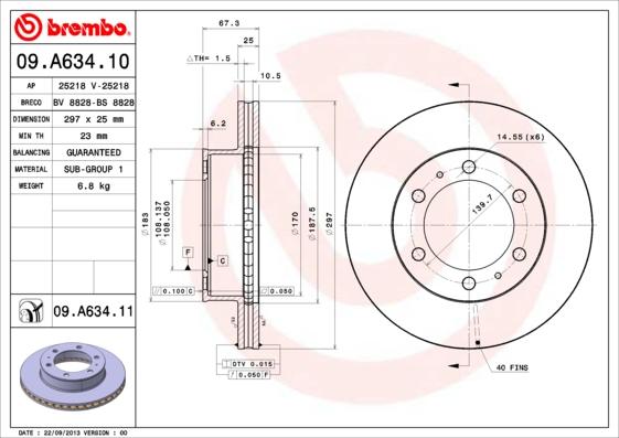 09A63411 Диск тормозной TOYOTA HILUX 06- передний вент.D=297мм.