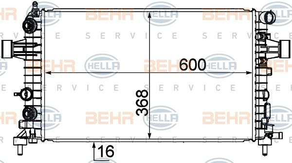 8MK376745771 Радиатор системы охлаждения OPEL: ASTRA H 1.2/1.4/1.8 04-, ASTRA H GTC 1.2/1.4/1.8 05-, ASTRA H Sport Hatch 1.2/1.4
